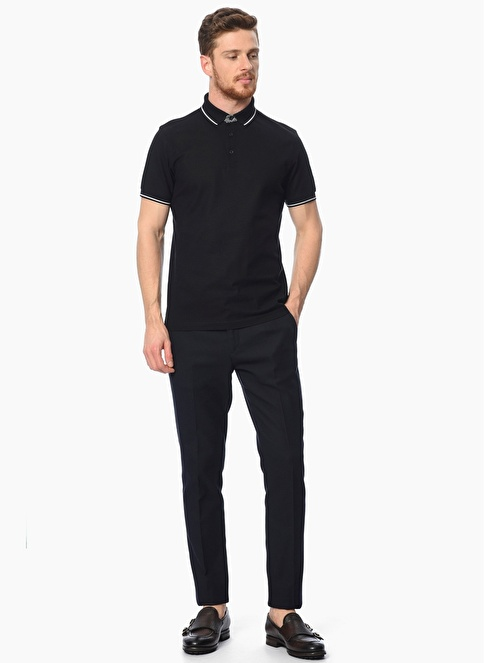 Network Polo Yaka Tişört Siyah